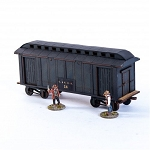 28S-DMH-143 - 19th C. American Baggage Car (Black)(1/56th , 28mm)