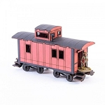 28S-DMH-149 - 19th C. American Caboose (Red)(1/56th , 28mm)