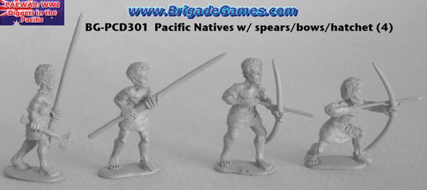BG-PCD301  Pacific Island Native Infantry - bows, spears, hatchet (4)