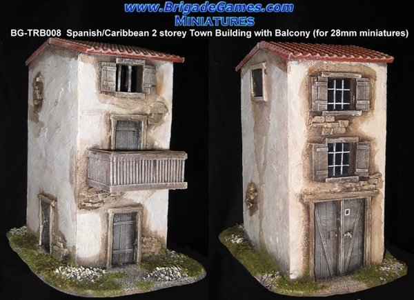 Spanish/Caribbean Style 2 story Town Building with balcony