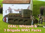 British Whippett Tank (WWI) (1/56) & 3 Brigade WW1 $16 Packs