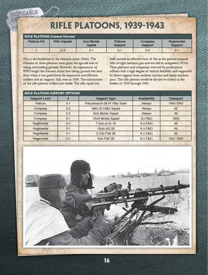 Angriff - The Complete Guide to the German Army in WW2 - Disposable Heroes  II (PRINT OR PDF)