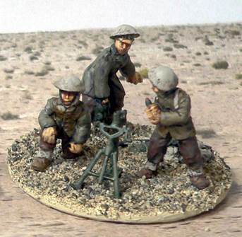 "Australian 6th Division - 3"" Mortar Team (Mortar, 3 Crew, Ammo Pile)"