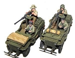 Desert Commando Patrol jeeps (2) and 4 LRDG crew - gunners and drivers (4 total minis) (1/56th)