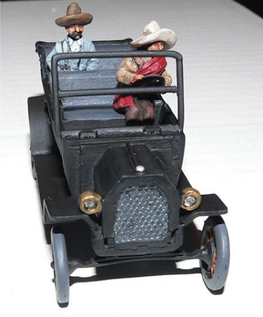 Mexican Model T and Pancho Villa and Driver (car plus 2 seated figures)