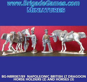 BG-NBR087-89  British Light Dragoons Dismounted Horse holders (2) and Horses (3)
