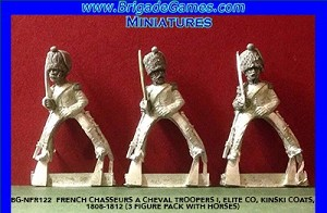 BG-NFR122  French Chasseurs a Cheval Troopers I, Elite Co, Kinski coats, 1808-1812