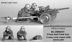 37mm Anti-Tank Gun w/ European Theater Infantry in Great Coats (2 plus ammo pile)