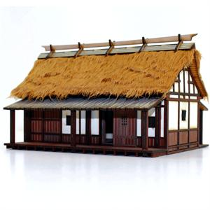 28S-EDO-106 - Japanese Peasant Farmer's Cottage (1/56th Prepainted Building)