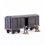 28S-DMH-148 - 19th C. Box Car (Black)(1/56th , 28mm)