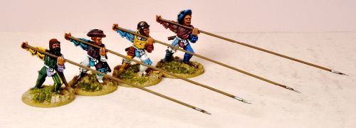 AD-REN003  Unarmored Pikemen Attacking (8)