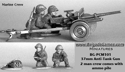 37mm Anti-Tank Gun w/ Marine Infantry (2 plus ammo pile)