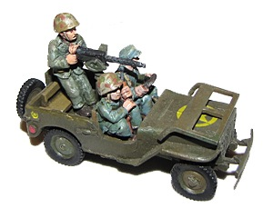 Willy's jeep with USMC crew (3) (1/56th)