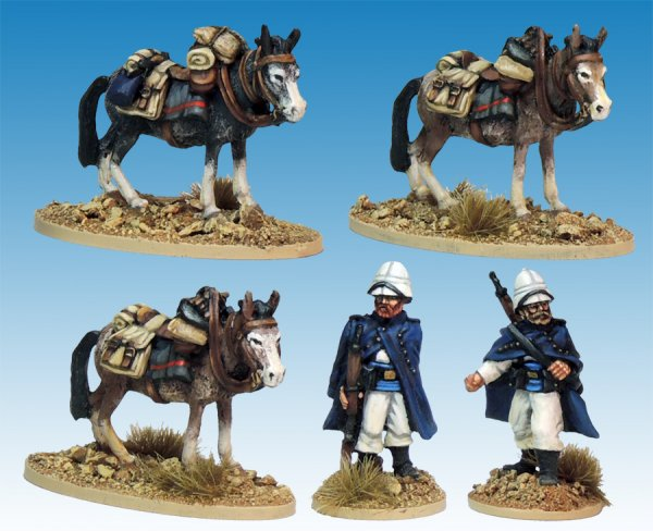 MOD037 - Legion Mounted Company Mule holders (3 mules, 1 holder, 1 sentry)