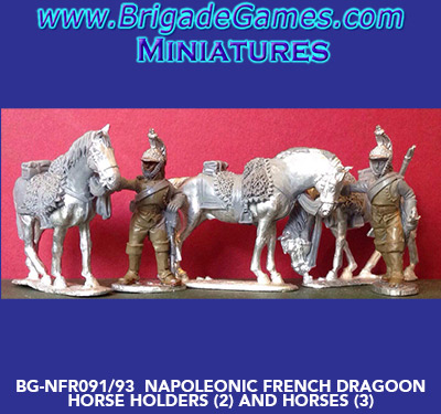 BG-NFR091-93  French Cavalry Dragoons - Dismounted - Horse Holders (2) and Horses (3)