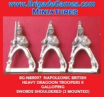 BG-NBR097 Napoleonic British Heavy Dragoons Troopers II, Swords Shouldered, Galloping 1812-15 (3 figure pack)