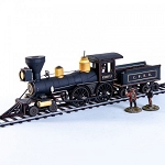 28S-DMH-139 - 19th C. American Steam Locomotive (Black)(1/56th , 28mm)