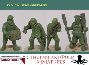 BG-CTH021 Bosun Mates (fishmen hybrids)(3) Dockyard workers. One carrying a crate, one carrying a fishing net and fish, one standing with two oars. Great for Pulp and Cthulhu game scenarios. Unpainted 28mm metal.