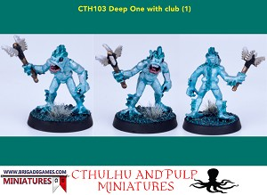 BG-CTH103 Deep One with club (1) . Great for Pulp and Cthulhu scenarios. Unpainted 28mm metal
